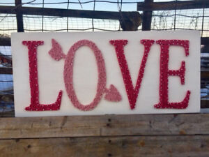 Love String Sign - white and pink, priced to sell!