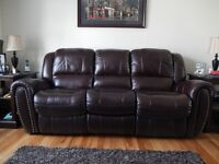 Double Reclining Brown Leather Sofa