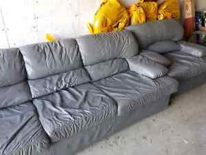 Perfect condition grey leather couch and chair