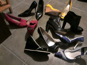 Hi heel shoes, lots of shoes & boots...