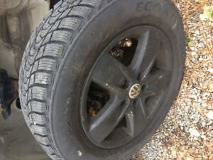 4 VW alloy wheels (5 bolt) with winter tires