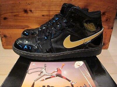 2003 Nike Air Jordan I 1 Retro Black Patent Metallic Gold sz 9