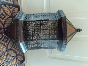Fancy Stained Glass & Metal Hanging Lantern