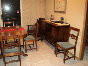 1954 Antique Dining Table/ Buffet Complete Set