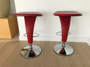Contemporary Barstools in Red Leather