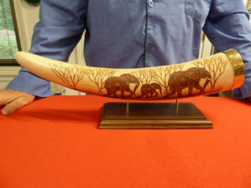 W-ELE-3) FAUX REPLICA ELEPHANT TUSK brass capped etched elephants artwork
