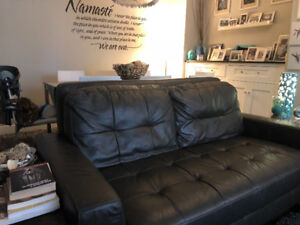 * ~ As new greyish/brown leather love seat ~ *
