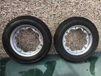 Pair of Lambretta rims with conti tyres