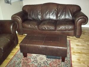 GENUINE LEATHER COUCH & LOVESEAT