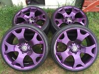 "19"" purple tiger claws alloy wheels 5x120 t5,vivaro,borbet, stagged,vw"