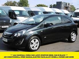 2013 VAUXHALL CORSA VAN SPORTIVE 1.3CDTI IN BLACK WITH AIR CONDITIONING,6 SPEED,