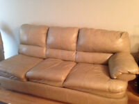 Leather Beige Couch and Lazy Boy for Sale!