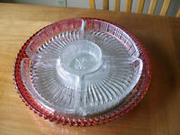 Cranberry glass serving plate with dividers