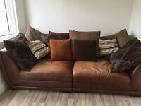 Leather sofa two sections approx 8 ft