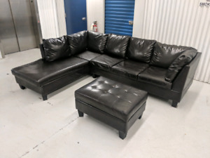 Genuine     Leather   L-Shape Sectional + Ottoman FREE DELIVERY