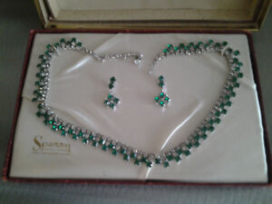 SPERRY Green Emerald and Rhinestone Necklace and Earrings