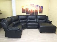 Electric Reclining Black Leather Corner Sofa