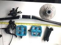 Shimano MTB Parts, Derailleur shifter Pedals cassette hydraulic brakes