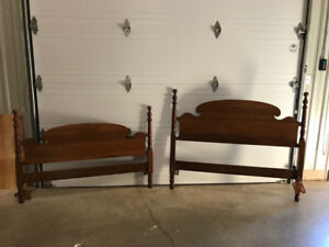 Antique Bed Set - Double bed, dresser and drawer bank