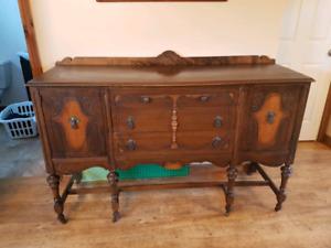 Vintage Antique Cabinet Side Board Solid Wood