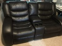Reclining Leather Loveseat with Storage