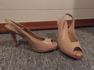 Women's nude sling back heels - size 6