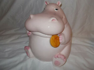 FITZ & FLOYD EARLY VINTAGE HIPPOPOTAMUS / HIPPO / COOKIE JAR / S