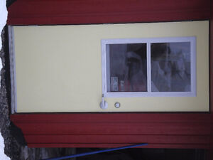 Fiberglass door with glass inset sliding up window, NEW