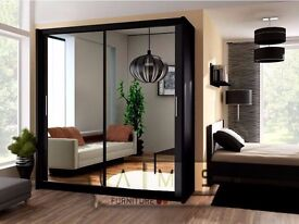 BLACK WHITE AND WALNUT FINISH! BRAND NEW BERLIN 2 DOOR SLIDING GERMAN WARDROBE WITH FULL MIRROR