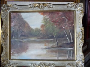 "Original, Vintage Oil Painting by M. Jordan ""Forest Path"" 1970's"