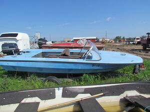 14' Fiberglass boat with motor and trailer