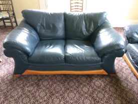 3 piece leather suite in blue