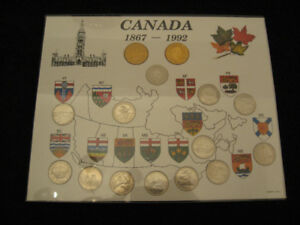 Collection 25 cents 1992 Canada carton couvert de plexig.