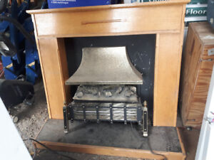 Electric fireplace and hearth and mantle.