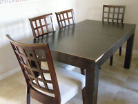 extendable dining table with 6 chairs and matching stool