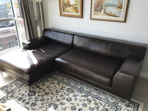 Brown leather sectional sofa (IKEA)