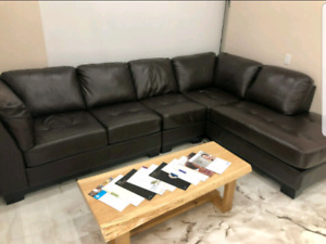 Oakdale Leather sectional sofa - the brick