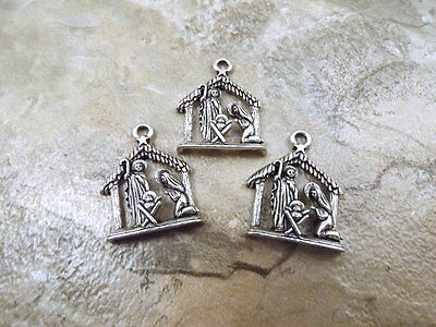 3 Pewter Nativity Scene Charms - 5140