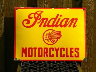 VINTAGE INDIAN MOTORCYCLES PORCELAIN SIGN ROADMASTER OIL SCOUT CHIEF DARK HORSE