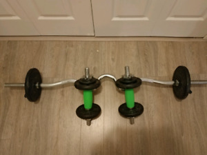 EZ curl bar and 2 dumbell bars.