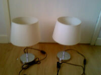 Pair of Silver and Cream Table Lamps