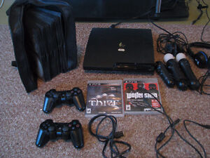 Excellent condition PS3 Console with 60+games+move controllers+h