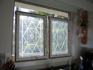 Pair of Antique windows with etched design on glass