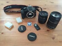 Canon 550D 18-55mm, 55-250mm, 8GB SD Card, two extra batteries, IR remote