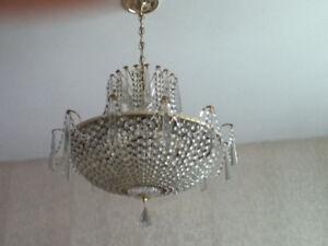 Striking crystal chandelier for sale.