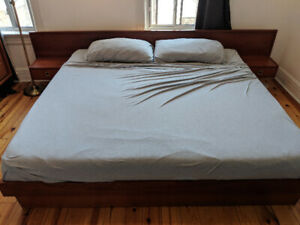 Vintage teak king size bed with side tables