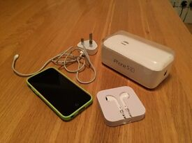 IPhone 5C Pink 8GB with Green Apple Case and box
