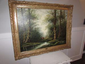 3 Peintures art  toile avec cadre antique antiquité vintage