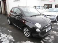 Fiat 500 1.2 S. 2013. Black with half leather. Alloys