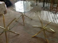 3 - piece brass & glass coffee table / end tables set
